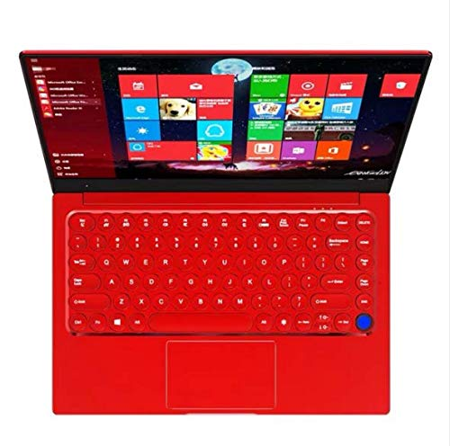 【8GB/Office 2019 】 All Metal Fingerprint Identification 14.1 inch Ultra-Thin Laptop Celeron 3867U Quad Core 8G RAM/64GB SSD High-spec Performance Notebook with Wireless Mouse (8G+64 GB SSD, Red)