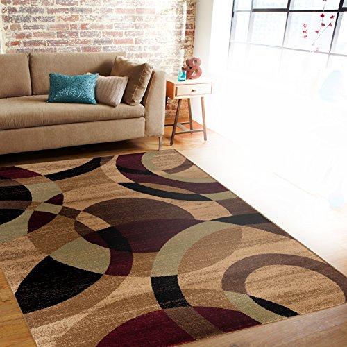 Contemporary Modern Circles Multi Area Rug Abstract 5' 3