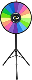 "ROVSUN 30"" Spinning Prize Wheel with Adjustable Height & Folding Tripod Floor Stand, 18 Color Slots Prize Spinner w Dry Erase & Mark Pen, Fortune Spin Game, Win Casino, Carnival and Trade Show"