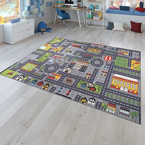 Speelkleed kinderkamer vloerkleed kindervloerkleed auto stratenpatroon, in grijs, Größe:Ø 200 cm Rund