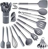 BAIYING Kitchen Utensils Tools Set, 30pcs Silicone Cooking Utensil, with Holder, Non Stick and Heat Resistant, BPA Free Stainless Steel Silicone Handle Cooking Tools - Grey