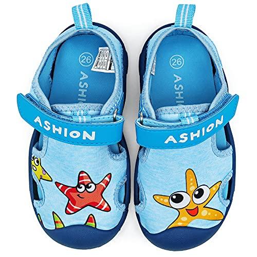 Kinder Sandalen Jungen Sneakers Badeschuhe Wasserschuhe Mädchen Aquaschuhe Baby Schwimmschuhe Strandschuhe(Blau Starfish,22EU)