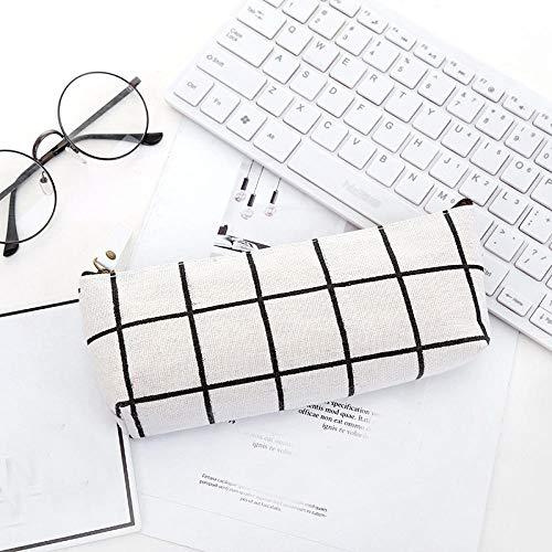 Große Kapazität Student Federmäppchen Trapez Leinwand Schreibtisch Aufbewahrungstasche Geldbörse Stift Aufbewahrungsbox weiß