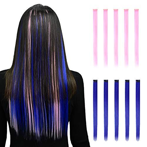 YMHPRIDE Colored Hair Extension 20-teiliger Clip in Haarverlängerungen Hitzebeständiger synthetischer, gerader Glanzlicht-Haarteil Fashion Cosplay Party-Clip in Haarverlängerungen für Kinder Mädchen