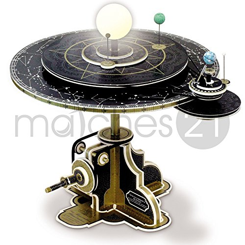 matches21 Kopernikus Planetensystem Planetarium der Astronomie als LED Modell Bausatz aus Gold bedrucktem Karton