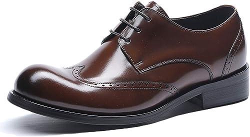 Souy Décontracté Hommes Noir Décontracté en Cuir Brogue Chaussures à Lacets Bureau Vintage Chaussures De Travail Marron Travail Intelligent Robe De Mariée Formelle Oxfords