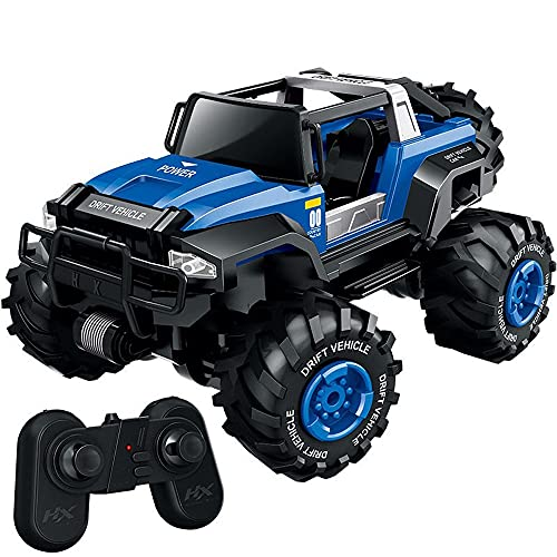 Nsddm Coche RC a escala 1/18, Control de radio de 2,4 Ghz con faro, Vehículo todoterreno todo terreno 4WD, camión RC que aglomera moster Regalos de juguete para niños y adultos. (Con batería recargabl