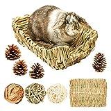 Cama de hierba trenzada para conejos, cama de heno para animales pequeños, con 3 bolas de hierba de paja natural para conejos, hámsters, chinchillas, cueva de hierba, accesorios para jaulas (L)