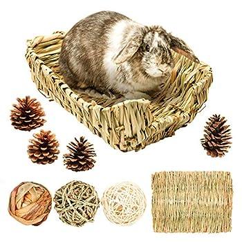 Lit de gazon/lapin, tapis de foin pour petits animaux avec 3 balles à mâcher en paille naturelle pour lapin, hamster, chinchilla, cochon d'Inde, niche d'herbe et cage d'accessoires (L)