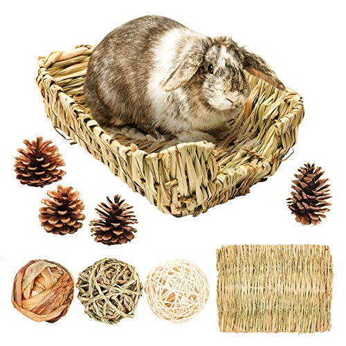 Geflochtenes Grasbett/Kaninchen Bett, Heu Matte für kleine Tiere, mit 3 Stück Kaubälle natürliches Stroh-Grashaus für Häschen Hamster Chinchillas Meerschweinchen, Grasnest Höhle Käfig zubehör (L)