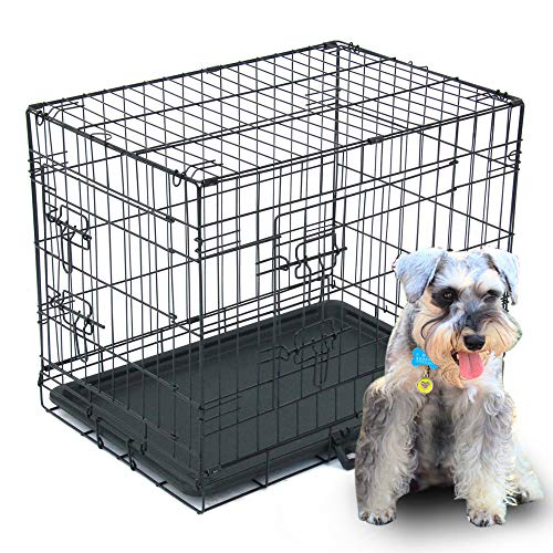 """Dog Crate, Folding Metal Pet Crate, Single-Door & Double-Door Homes for Pets, Kennel with Divider Panel, Wire Dog Crate Animal Cage, for Training Pet Supplies & Accessories (24"""" Double Door) Basic Crates"""