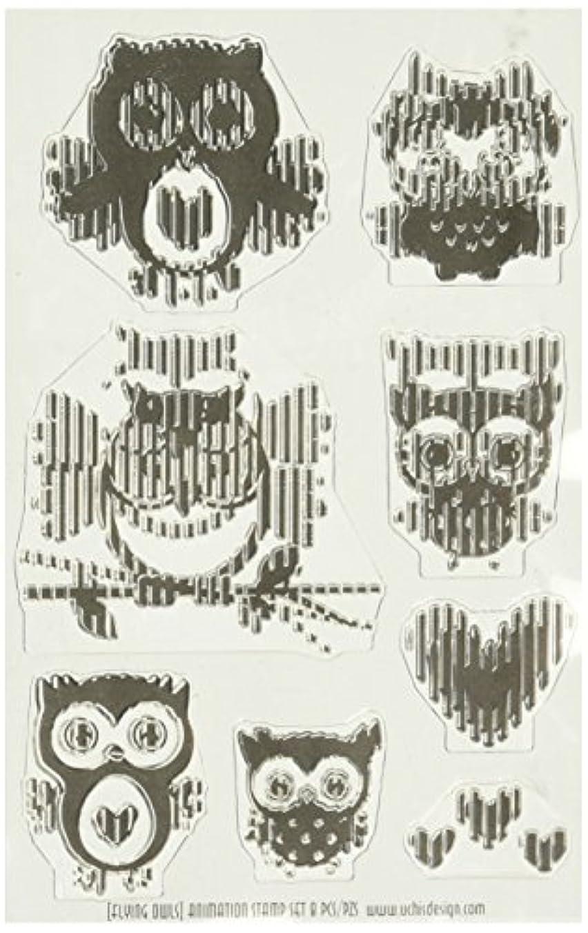 American Crafts 346507 Owls Stamps, Black