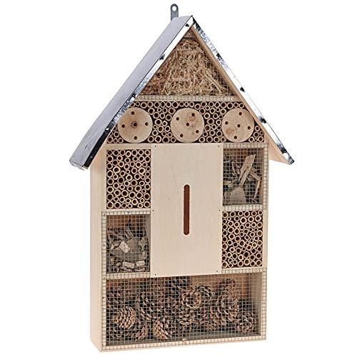 Murago - XXL Insektenhotel ca. 57cm Holz mit Metalldach Insektenhaus Groß Bienenhotel Nistkasten Nisthilfe zum Aufstellen Aufhängen fertig montiert