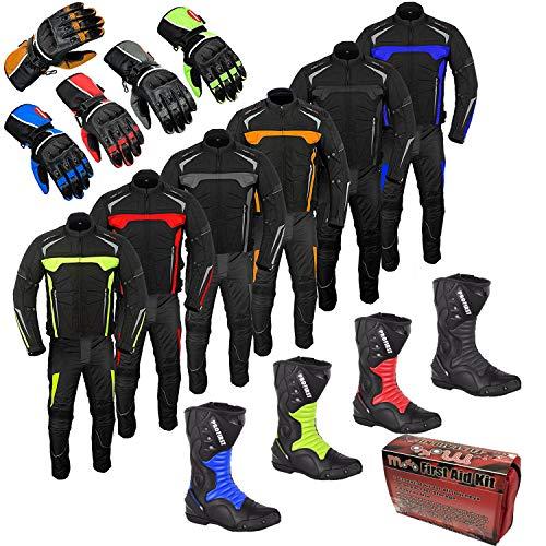 Motorradanzug Motorrad-Tourenstiefel Schuhe Wasserdichte Handschuhe 2-teiliges Anzug-Fahrer-Fahrrad (kostenloses Aid Kit-Geschenk) für Herren - Grau 5XL