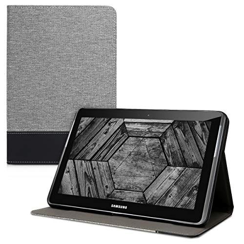 kwmobile Schutzhülle kompatibel mit Samsung Galaxy Tab 2 10.1 P5100/P5110 - Hülle Slim - Tablet Cover Hülle mit Ständer Grau Schwarz