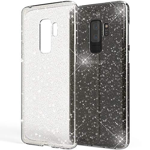 NALIA Custodia Glitter compatibile con Samsung Galaxy S9 Plus, Ultra-Slim Cellulare Silicone Gomma Cover Protettiva Pelle, Morbido Sottile Protezione Gel Telefono Smart-Phone Case, Colore:Trasparente