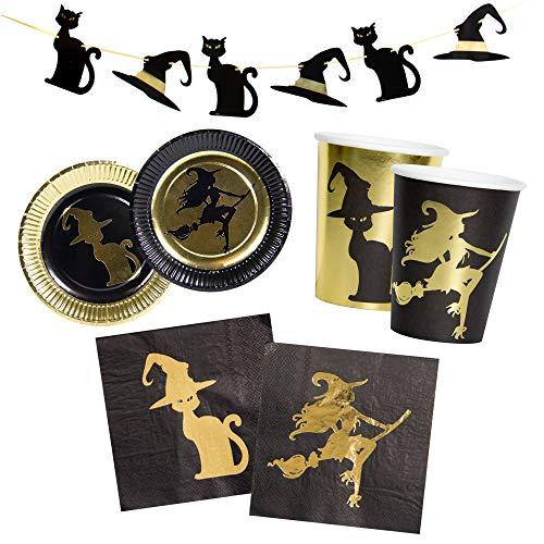 Unbekannt 37-teiliges Goldene Hexe Party-Set mit metallischen Effekt inkl. Teller, Becher, Servietten und Girlande