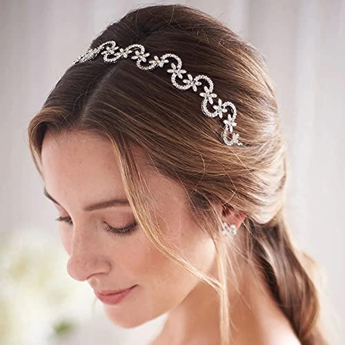 KONGLYLE female Glittery Hair Loop Rhinestone Bridal Hair Band with Floral Decor Adjustable Alloy Hair Accessories for Bride Women