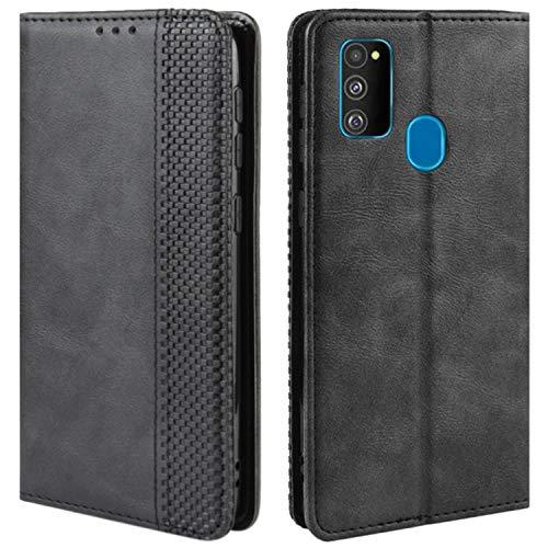HualuBro Handyhülle für Samsung Galaxy M30s Hülle, Galaxy M21 Hülle Leder, Stoßfest Klapphülle Schutzhülle Handytasche LederHülle Flip Hülle Cover für Samsung Galaxy M30s Tasche, Schwarz