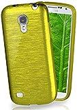 moex Stylische Brushed Aluminium-Optik und starker Grip | Ultra dünne Silikonhülle passend für Samsung Galaxy S4 Mini in Oliv-Grün