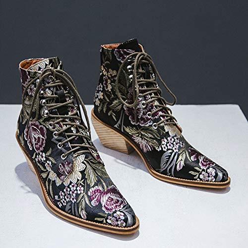 ZLFCRYP Zapatos Botas Mujeres con Estilo étnico borda el Invierno Bota del Tobillo ata para Arriba Retro del tacón Alto E-34