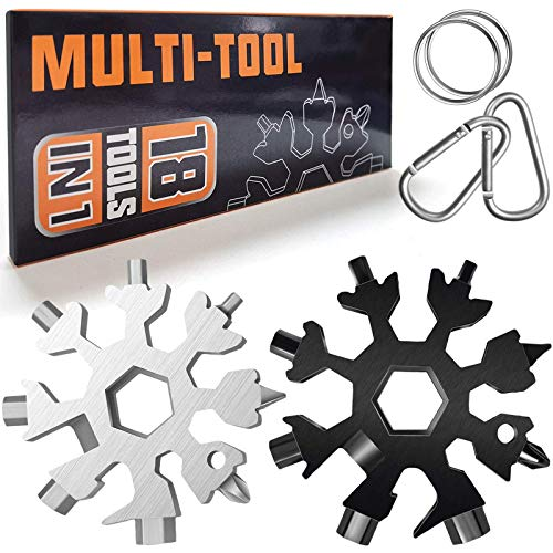 Multitool 18-in-1 Schneeflocken-Schlüsselanhänger, 2 Stück, Edelstahl, tragbar, Flaschenöffner-Set, Schraubenschlüssel, praktisches DIY-Werkzeug für Männer…
