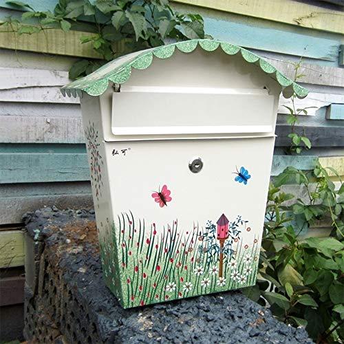 Mailbox Mailbox - gegalvaniseerd blad, creatief pastoraal beschilderd buiten muur waterdichte Inbox, geschikt voor villa's, binnenplaatsen, huizen muur mount brievenbussen B