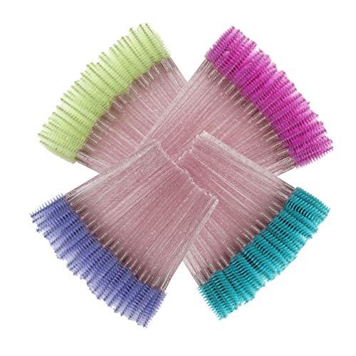 HPNESS Lot de 50 brosses à mascara jetables Vert/violet/bleu/rose 200 pièces