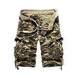 GUOCU Hombre Algodón Camuflaje Cargo Shorts Casuales Trabajo Shorts Bolsillos Militares Pantalones Cortos Bermudas Caqui 38
