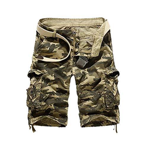 GUOCU Hombre Algodón Camuflaje Cargo Shorts Casuales Trabajo Shorts Bolsillos Militares Pantalones Cortos Bermudas