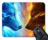 Ice and Fire Wolf Head Galaxy Mouse Pad Non-Skid Natural Rubber Rectangle Mouse Pads Home Office Computer Gaming Mousepad Mat