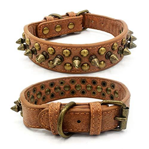 DHGTEP Bulldog Francés Pitbull Perros Collar de Oro Retro Remache Tachonado de Cuero Collar de Mascotas para Perros Pequeños Medianos Grandes Correa de Cuello de Púas (Color : A, Size : M)