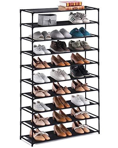 YOUDENOVA 10 Tiers Shoe Rack, Non-Woven Fabric Shoe Rack Organizer, 50 Pairs Shoe Organizer (Black)