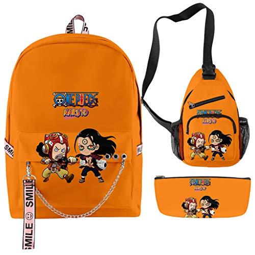 One Piece & Naruto Mochila Anime Luffy Zoro Uzumaki Akatsuki Cosplay Bolsa transversal e bolsa para lápis para fãs (M)
