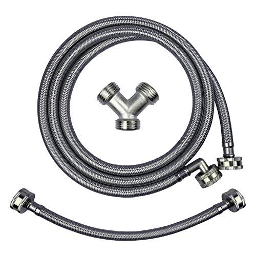 Premium Steam Dryer Installation Kit,Steam Dryer Hose Kit Stainless Steel Hoses,Burst Proof 6ft Long with 90 Degree Elbow,1 ft inlet and Dryer Hose Y Connector for Steam Dryer Washer Hose Splitter