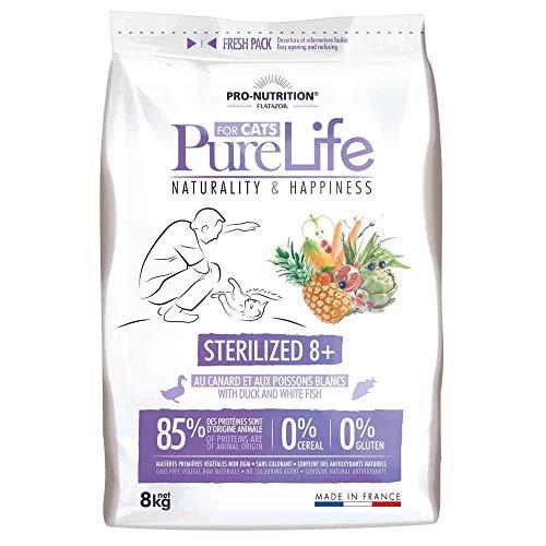 Croquettes Pure Life Sterilized 8+ pour Chat - Flatazor - 8Kg