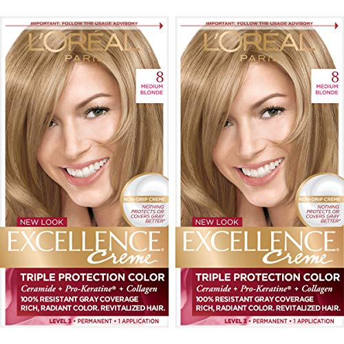 L'Oreal Paris Excellence Creme Permanent Hair Color, 8 Medium Blonde, 100% Gray Coverage Hair Dye, Pack of 2