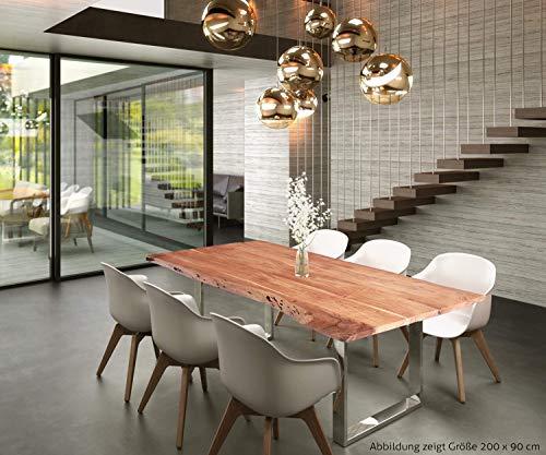 AISER Royal Massiver Echt-Holz Esstisch Baumkantentisch -Aalborg- 160 x 88 cm aus besonders schön gezeichnetem Akazien-Holz mit verchromten Metall-Beinen in modernem zeitlosen Design