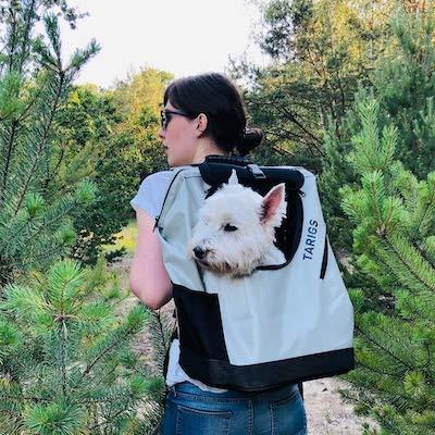 TARIGS Hunderucksack Hundetragerucksack für Hunde bis 12 kg Wandern, Radfahren Grau M