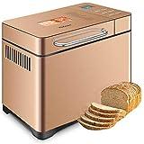 Yabano Acier Inox Machine à pain avec Distributeur de Fruits à Coque, 19 Programmes Automatiques Machines à Pain 1kg Capacité, Minuteur 15h, 3 Tailles de Pains, 3 Couleurs de Croûte