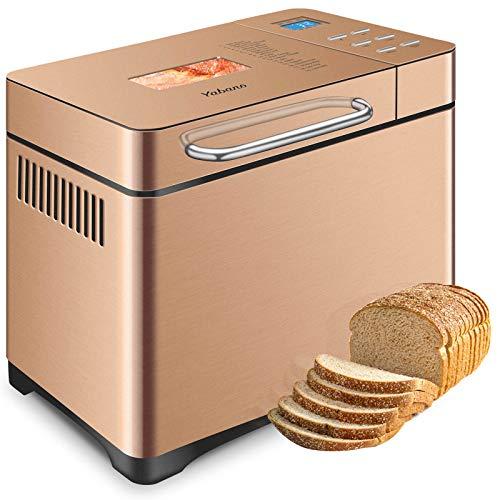 Acero Inoxidable Panificadora, Máquina para Hacer Pan con 19 Programas, Panificadora Automática de dispensador, Pan sin gluten, Capacidad 1kg, 3 Niveles de Horneado, Pantalla LCD
