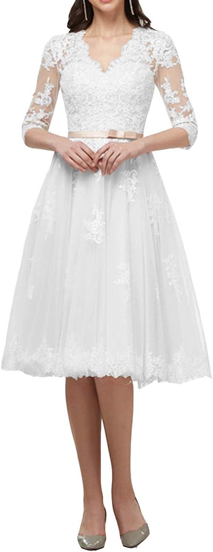 Cdress Lace Wedding Dresses Tulle Bridal Gowns for Bride Tea Length Vintage V Neck Long Sleeves