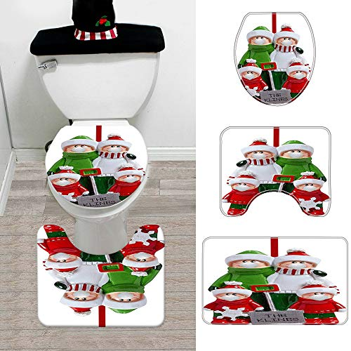 MMTX Überlebte Familienverzierung Weihnachten Toilettensitzbezug, Familienmitglieder Weihnachtsschmuck mit Toilettendeckelbezug&Teppich,Badezimmergarnitur für Weihnachtsfeierzubehör