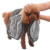 Wonnell Asciugamano per Cani,Morbido Accappatoio per Animali in Microfibra per Gatti e Asciugamano per Cani, Asciugamano per Animali con Borsetta, Alto Assorbimento e Asciugatura Rapida.