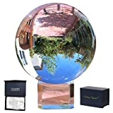 Amlong Crystal Meditation K9 Crystal Ball 3.25 inch (80mm) Diameter for Photography, Lensball, Decorative Ball with Free Crystal Stand and Gift Box, Clear