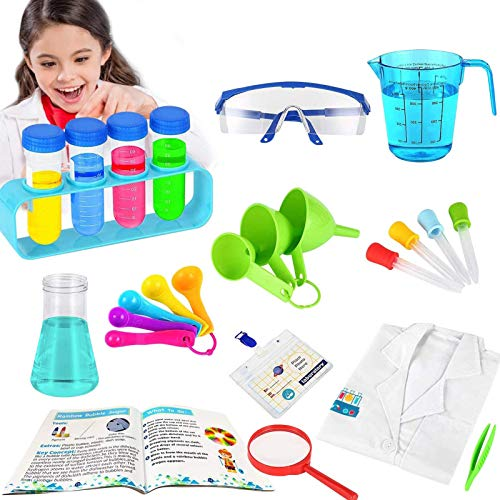 HOMOFY Kids Science Experiment Kit for Kids 5-7 Year Old STEM Education Science Kit with Kids Scientist Costume Kids Science Gift Toys for 4 5 6 7 8 9 Years Old Boys Girls