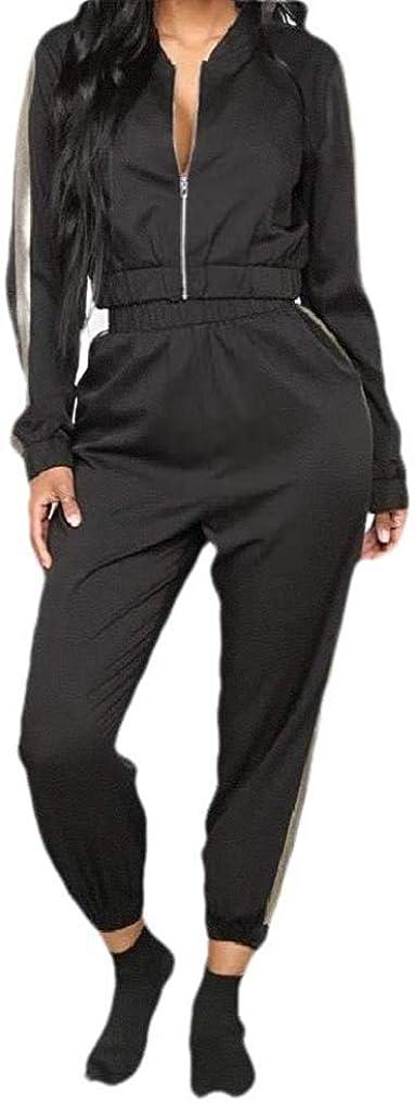 ダンプリンク負パーカージッパースポーツスウェットスーツ付き女性の快適な2ピース Black US Small