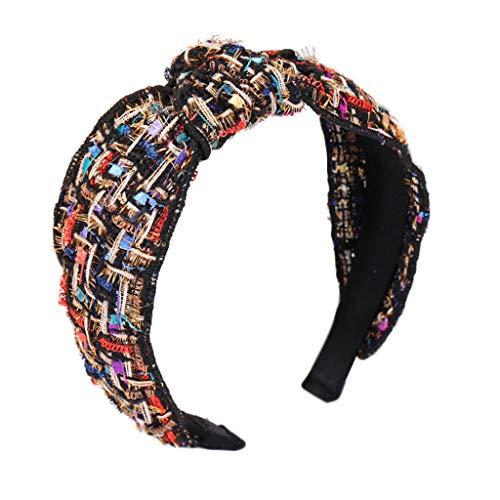 CarryKT Koreaanse boutique brede hoofdband dames retro bont ruiten knoop haarband glitter draad handwerk geweven styling hoofdtooi