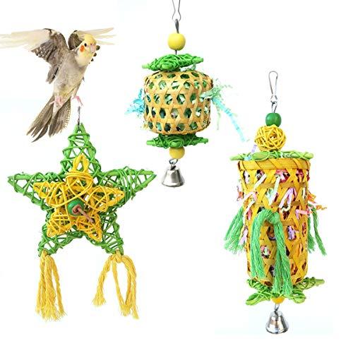 CooShou 3 juguetes para triturar pájaros, loros, pájaros, juguetes para masticar pájaros, juguete hecho a mano de bambú para triturar pájaros, loros, piquetas, cacatúas