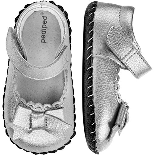 pediped Originals Betty Mary Jane (Infant),Silver,Small (6-12 Months)